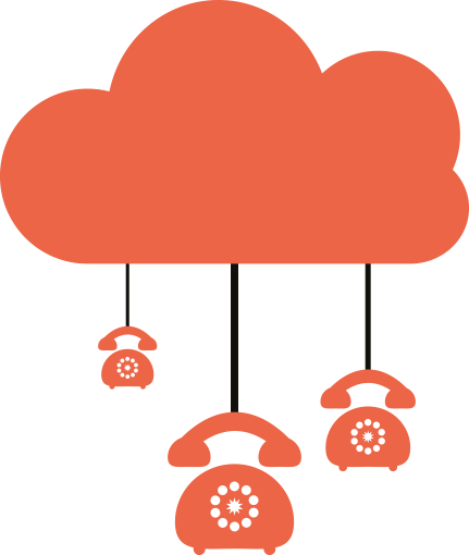 Cloud with Telephones connected as per cloud telephony